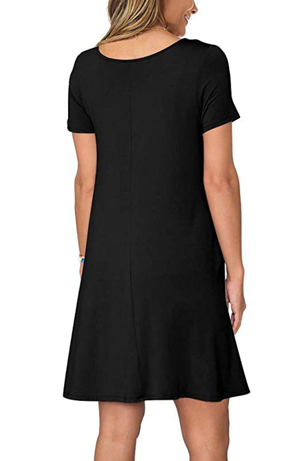 Solid Color Casual T Shirt Dresses With Pockets