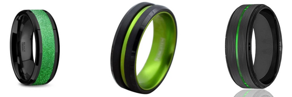 Black and green tungsten wedding bands