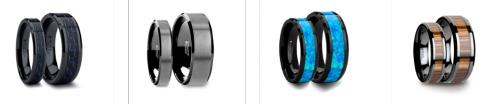 black tungsten ring sets