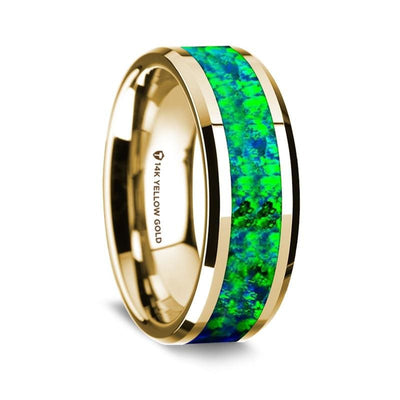 14K Yellow Gold Ring w/ Emerald Green and Sapphire Blue Opal Inlay Beveled Edge 8 mm
