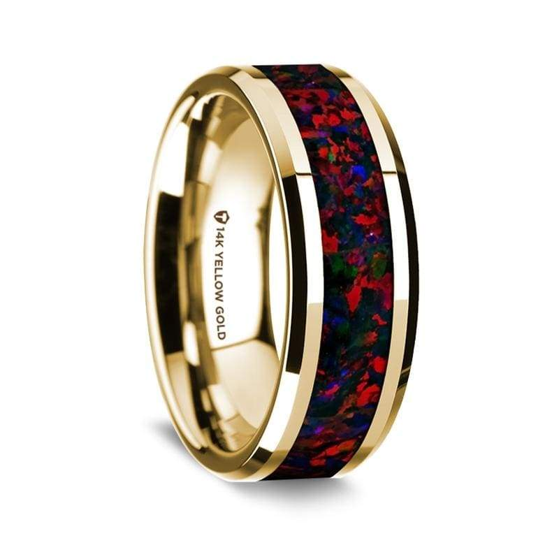 14K Yellow Gold Wedding Ring with Black and Red Opal Inlay Beveled Edges - 8 mm
