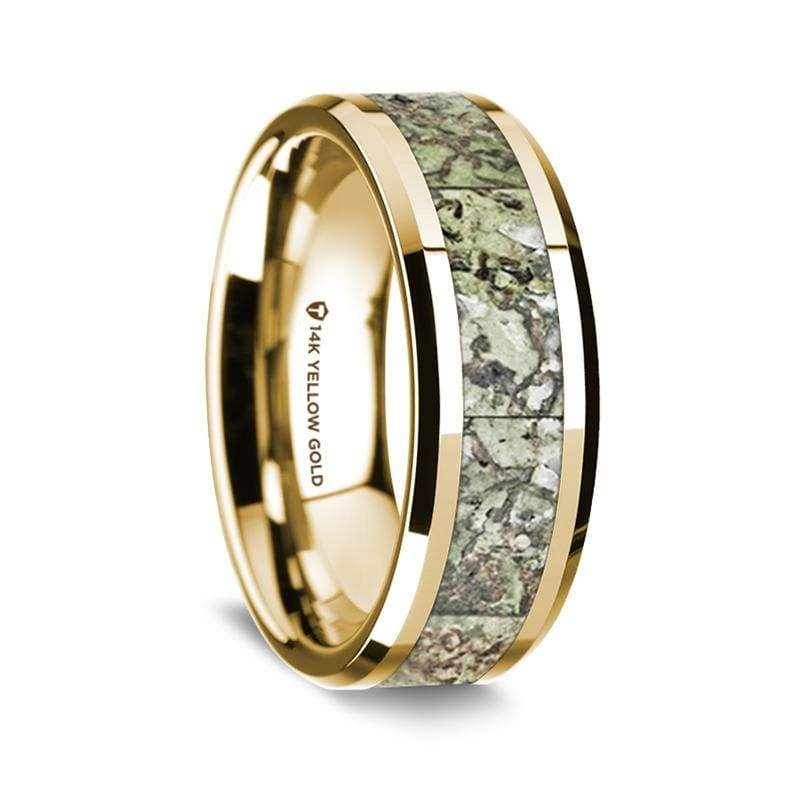 14K Yellow Gold Wedding Ring Green Dinosaur Bone Inlay Beveled Edges - 8 mm