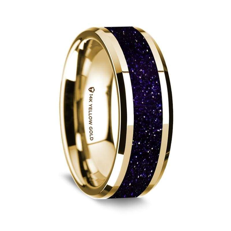 Fabio 14K Yellow Gold Wedding Ring with Purple Goldstone Inlay Beveled Edges - 8 mm