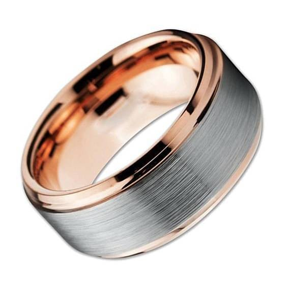18K Rose Gold Inlaid Tungsten Ring With Stepped Edges Brushed Finished Center - 10mm