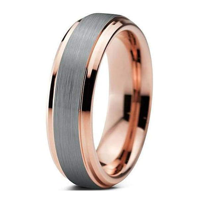 18K Rose Gold Inlaid Tungsten Wedding Band w/ Stepped Edges Brushed Center- 6mm
