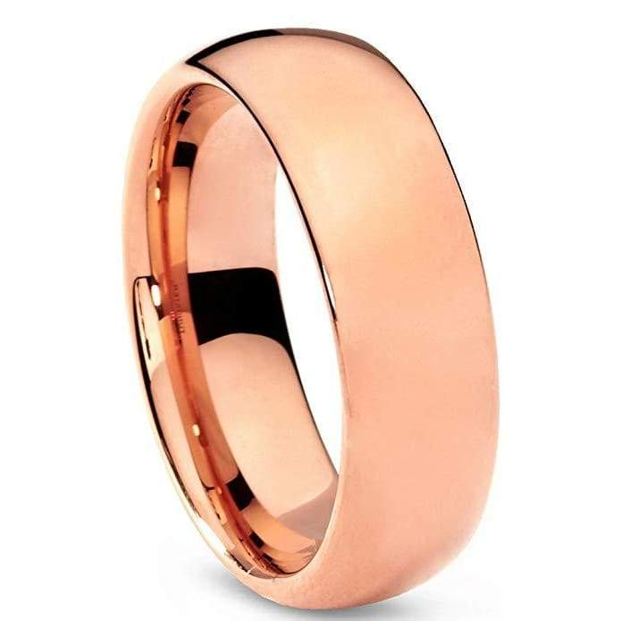 18K Rose Gold Plated Tungsten Wedding Ring Domed with Polished Finish- 7mm