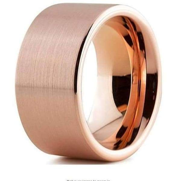 18K Rose Gold Tungsten Wedding Band Pipe Cut Flat Brushed and Polished - 12mm