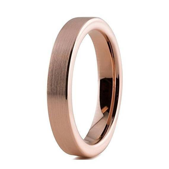18K Rose Gold Tungsten Wedding Band Pipe Cut Flat Brushed and Polished - 4mm