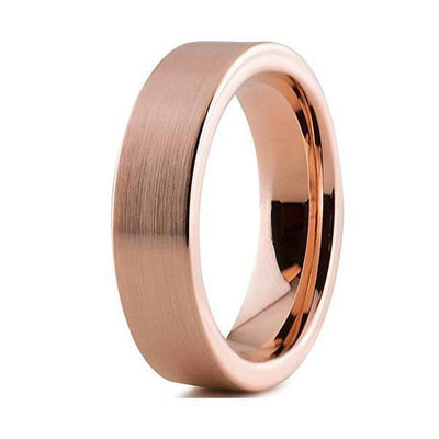 18K Rose Gold Tungsten Wedding Band Pipe Cut Flat Brushed and Polished - 6mm