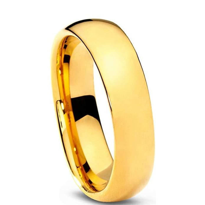 18K Yellow Gold IP Tungsten Wedding Band For Women Domed Polished Comfort Fit - 5mm
