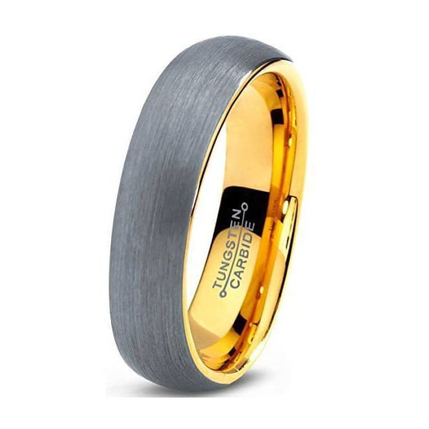 18K Yellow Gold Plated Domed Brushed Tungsten Carbide Wedding Ring - 5mm