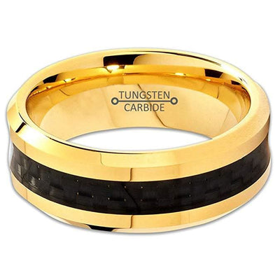 18K Yellow Gold Plated Tungsten Ring Beveled Edges With Black Carbon Fiber - 8mm
