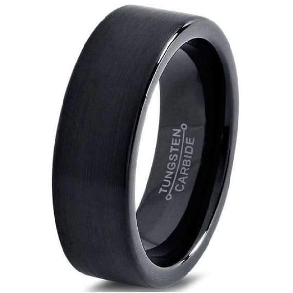 Abby Black Brushed flat Band Tungsten Wedding Ring - 7mm