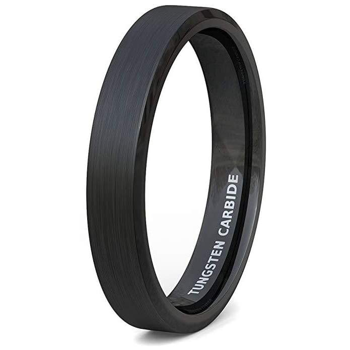 ABIA Womens Black Tungsten Wedding Band With Beveled Edge Comfort Fit - 4mm