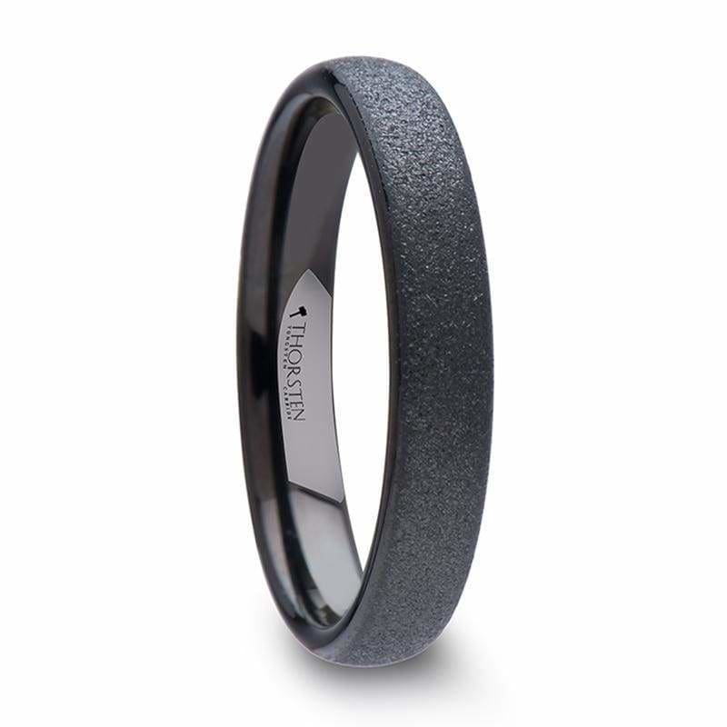 ABRA Domed Sandblasted Crystalline Finish Black Tungsten Ring For Her - 4mm