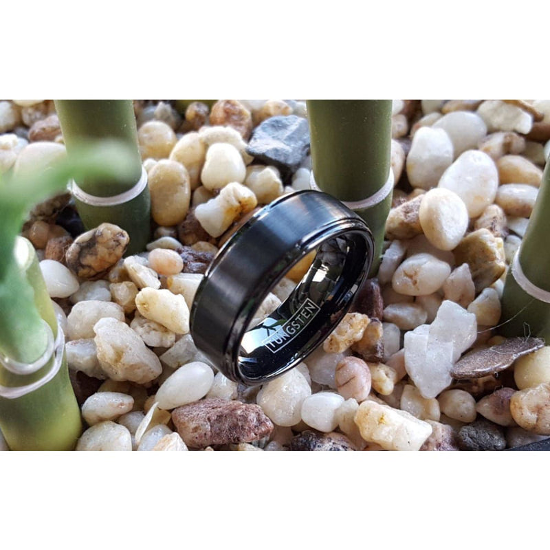 Adal Black Tungsten Carbide Ring With Polished Stepped Edges & Brushed Center - 8mm