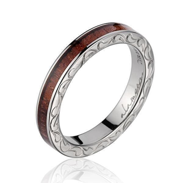 Addison Titanium Band Ring Genuine Hawaiian Koa Wood Hand Engraved Scroll - 3mm