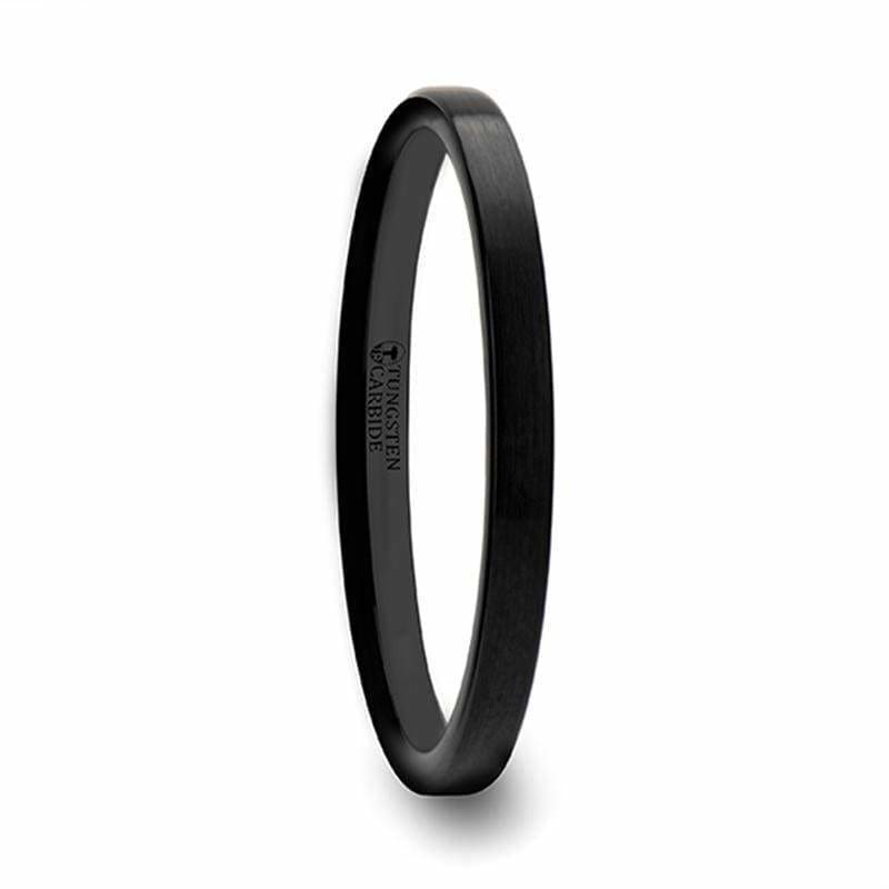 ADORA Ladies Black Pipe Cut Tungsten Wedding Band with Brushed Finish 2mm