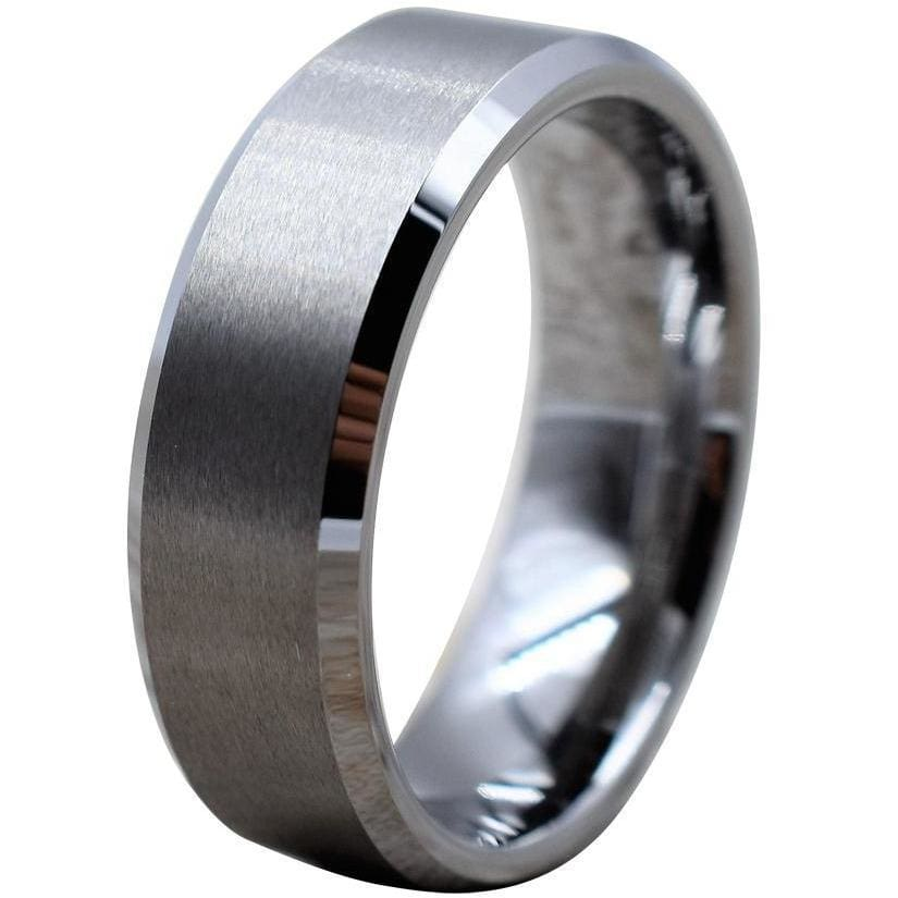 Adriel Tungsten Wedding Band With High Polished Beveled Edges & Brushed Center - 6mm & 8mm