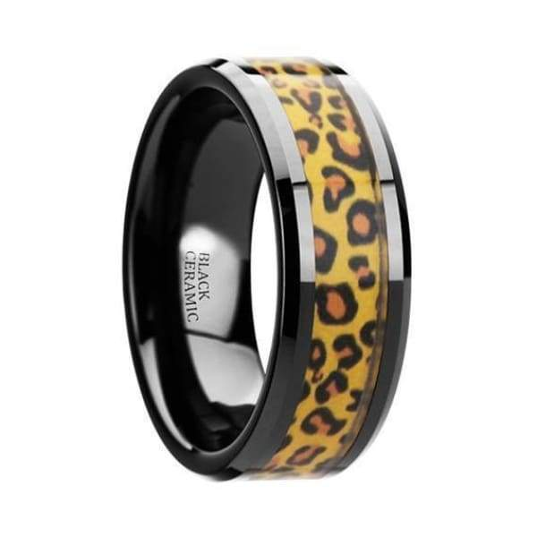 Aidan Ceramic Black Wedding Band Cheetah Print Animal Design Inlay 6mm & 8mm