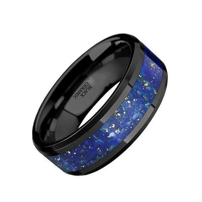Akhila Ceramic Black Wedding Ring Blue Lapis Inlay Beveled Polished Finish - 8mm