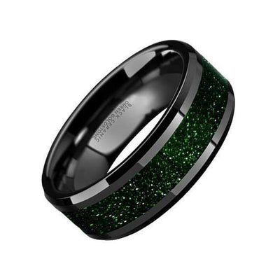 Alder Black Ceramic Wedding Ring Green Goldstone Inlay Beveled Polished Finish - 8mm
