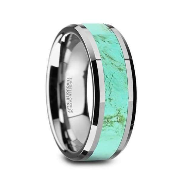 Aldin Wedding Tungsten Ring Light Blue Turquoise Stone Inlay Beveled Polished Finish - 8mm
