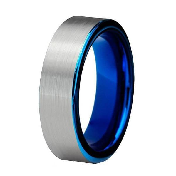 Alexis Tungsten Carbide Wedding Ring Blue Pipe Cut Brushed Comfort Fit - 6mm
