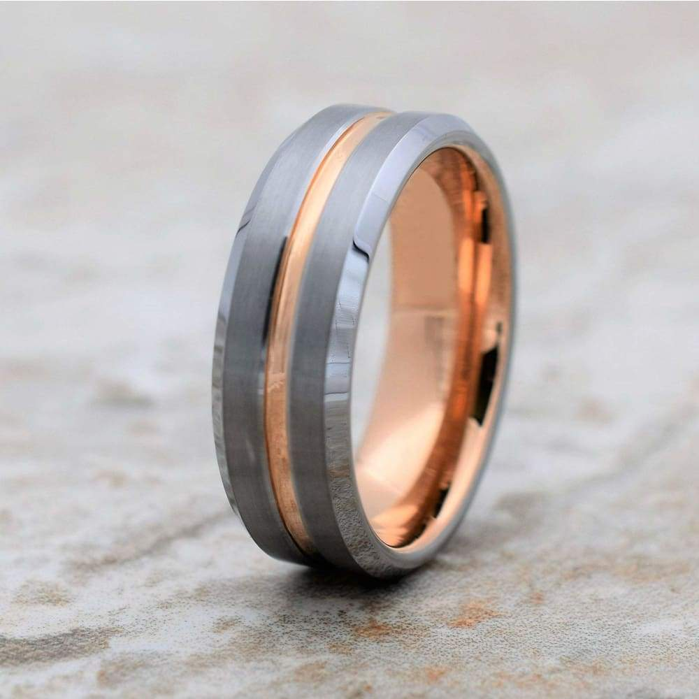 ALRIC Mens Tungsten Carbide Ring Rose Gold Inlaid Inside & Recessed Stripe - 8mm