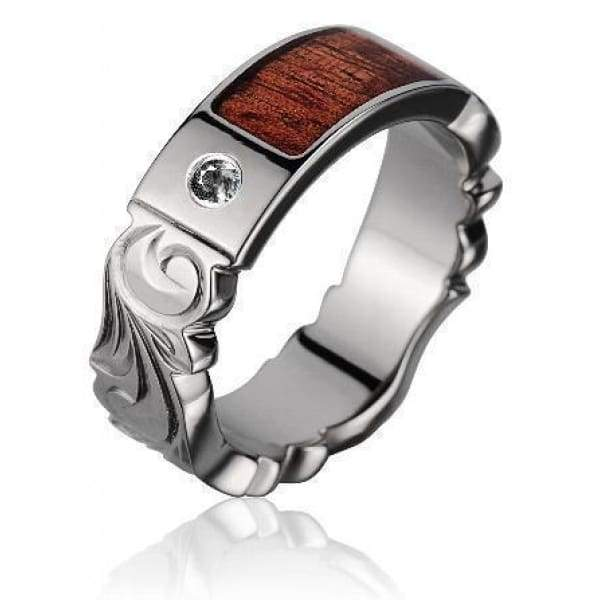 Altair Titanium Scroll Diamond Wedding Band Genuine Hawaiian Koa Wood - 6mm