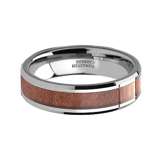 Amber Rosewood Inlaid Tungsten Wedding Ring Polished Finish - 4mm-12mm