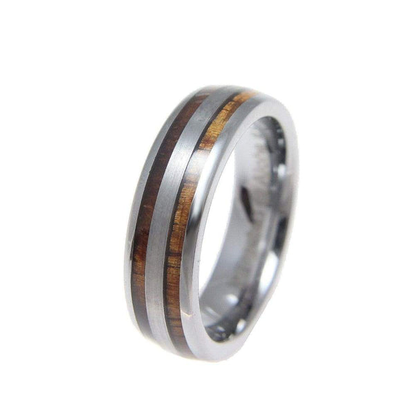 Andie Tungsten Wedding Band Hawaiian Koa Wood Inlay Comfort Fit - 6mm