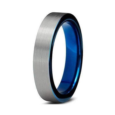 ANELIA Womens Tungsten Wedding Ring Brushed with Comfort Fit Blue Inside - 4mm