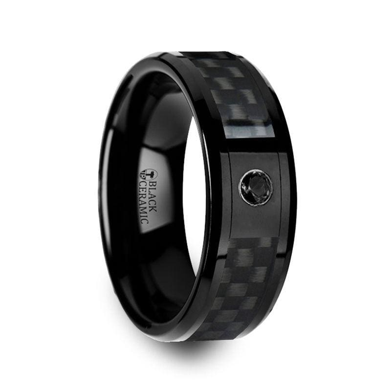 APOLLO Black Ceramic Ring With Diamond Setting & Carbon Fiber Inlay 8mm