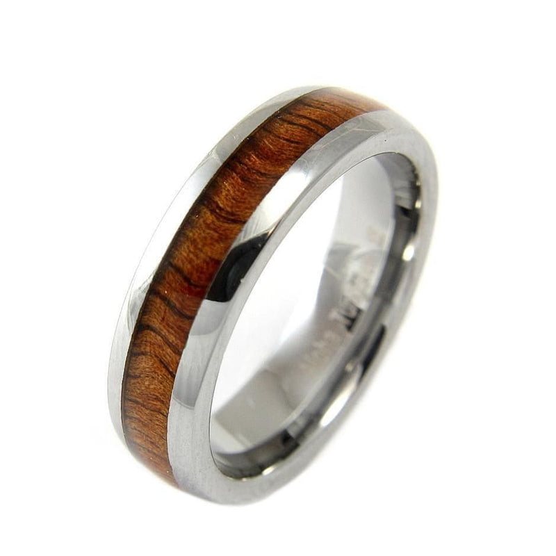 APUS Tungsten Band Genuine Inlay Hawaiian Koa Wood Comfort Fit Ring - 6mm