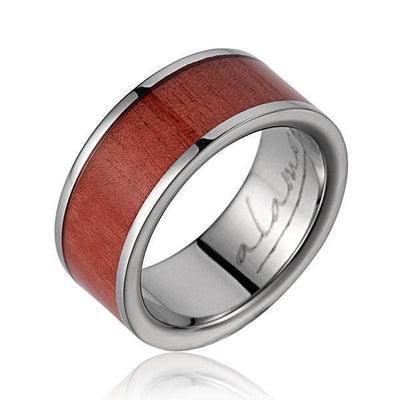 ARES Pink Wood Wedding Band Titanium Genuine Inlay - 8mm