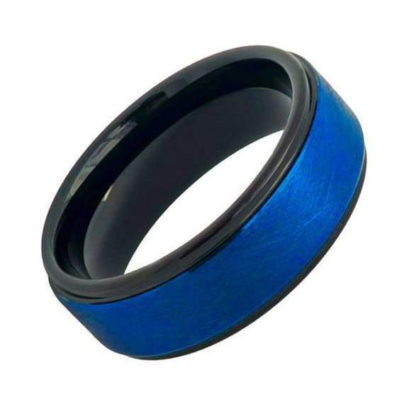 Ariel Tungsten Wedding Band Prussian Blue Ice Finished Center Stepped Edges - 8mm