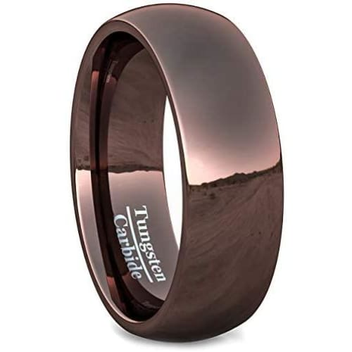 ARIS Men's Highly Polished Brown Domed Tungsten Carbide Ring - 8mm
