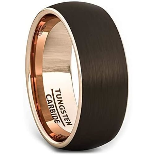 ARIUS Domed 18k Rose Gold Inlaid Brown Brushed Tungsten Wedding Ring - 8mm
