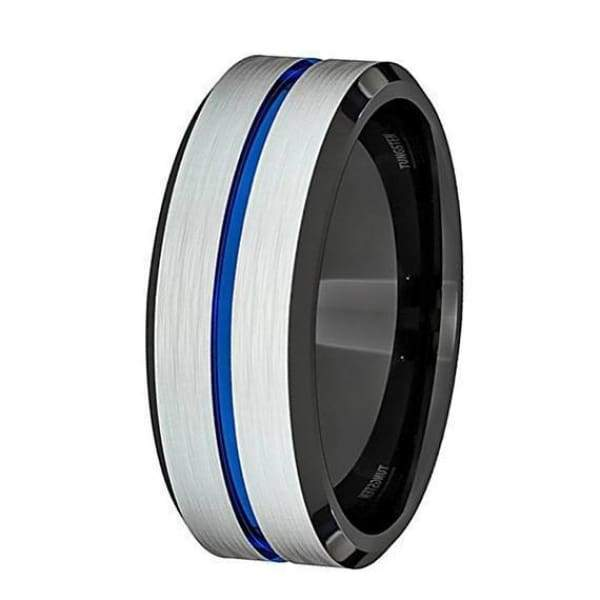 Classic Mens White Brushed Blue Groove Black Inside Tungsten Wedding Ring - 8 mm