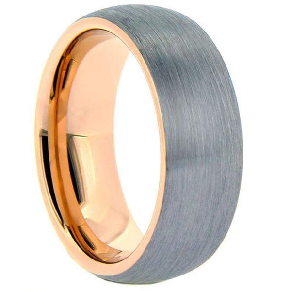 ATILA Domed Brushed Tungsten Carbide Ring w/ Rose Gold Inlaid Inside 6mm & 8mm
