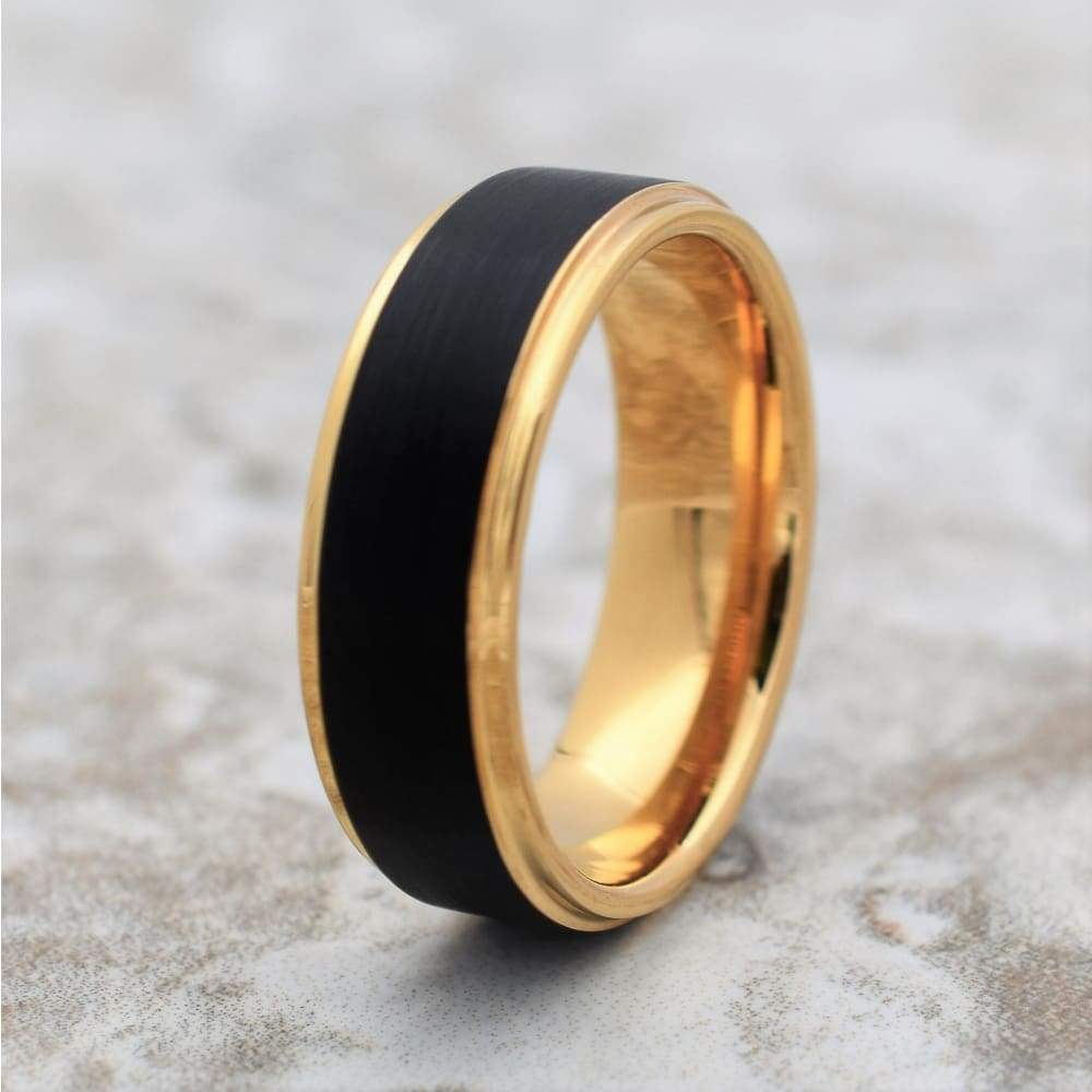 ATLAS Stunning Black Tungsten Carbide Wedding Ring with Yellow Gold Inlay - 8mm