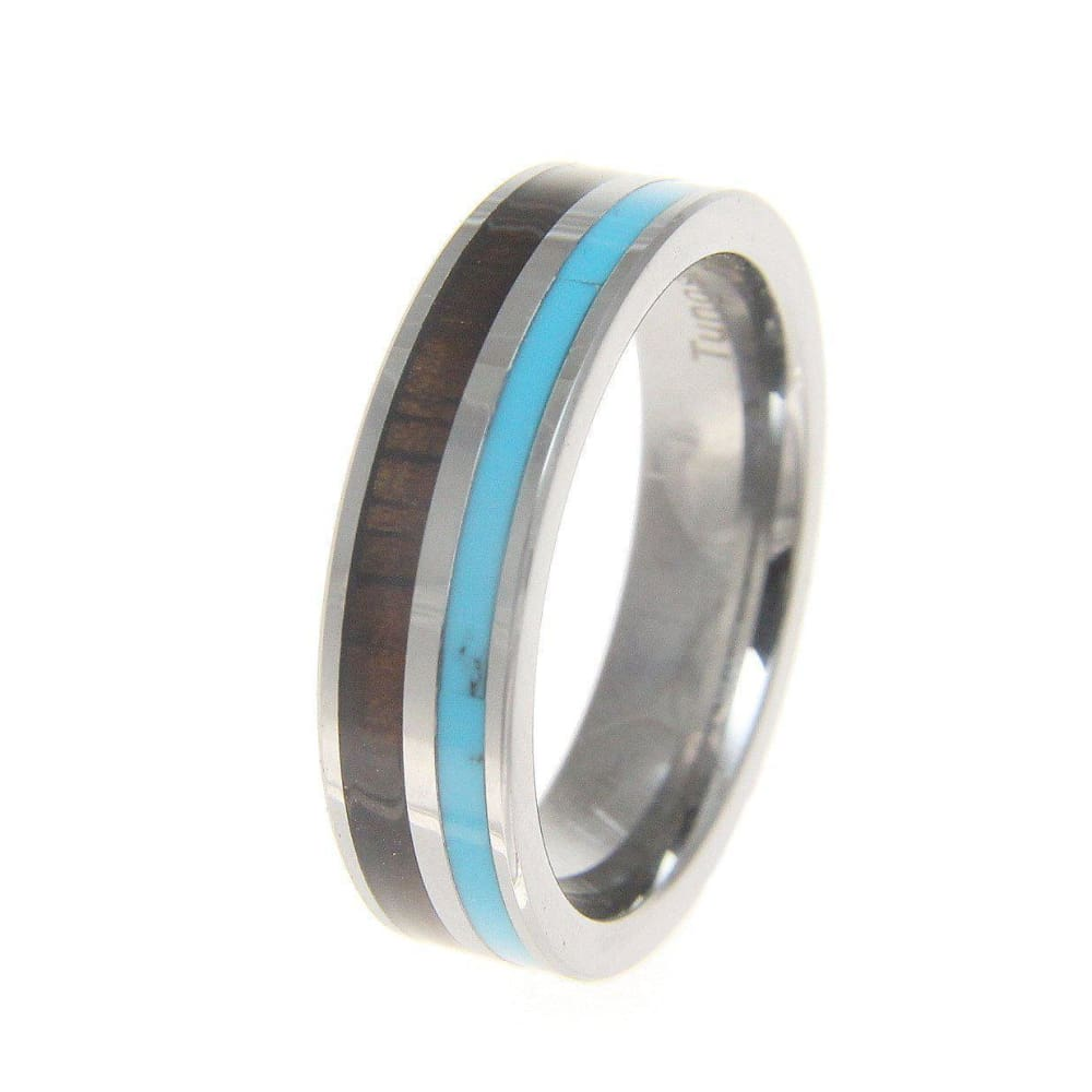 Audrey Tungsten Wedding Band Turquoise Hawaiian Koa Wood Comfort Fit Ring - 6mm
