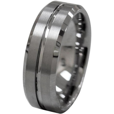 Austen Mens Tungsten Wedding Band With Grooved Center and Beveled Edges 8mm