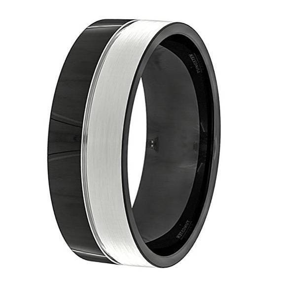 Avery Mens Black And Silver Tungsten Wedding Band High Polish - 8mm