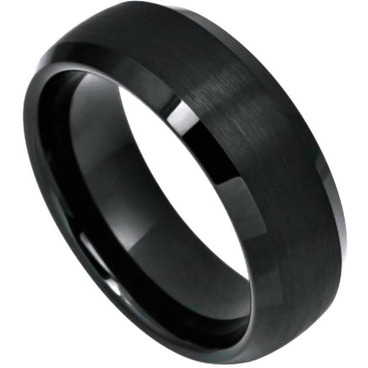 BADU Domed Black Tungsten Ring With Brushed Center & Beveled Edges - 6mm 8mm