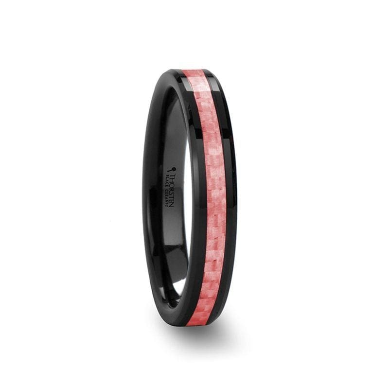 ROSA Women's Beveled Black Ceramic Ring With Pink Carbon Fiber Inlay - 4mm & 6 mm