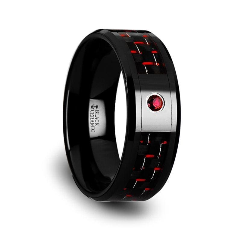 SORRELL Black Ceramic Ring With Black And Red Carbon Fiber And Red Ruby Setting - 8mm