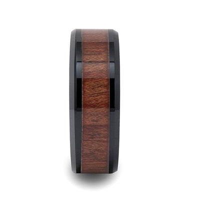 Beveled Black Ceramic Wedding Band With Real Rosewood Inlay 4mm - 12mm