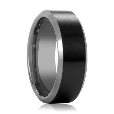 Beveled Black Tungsten Carbide Ring With Brushed Black Ceramic Center 6mm & 8mm